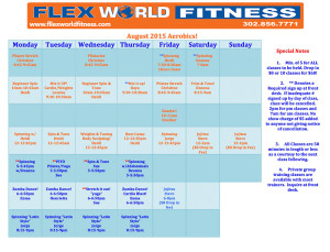 Flex World Fitness | Aerobic Schedule August 2015