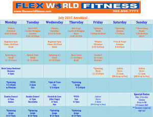 Flex World Fitness Aerobic Schedule July 2015